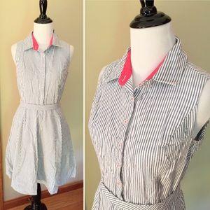 Cynthia Rowley striped cotton shirt dress with tie
